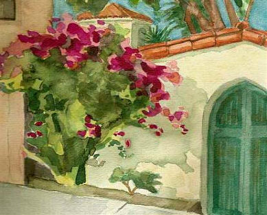 watercolor painting of a street on Catalina Island with bougainvillea